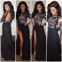 Black Sheer Long Sleeve Sequined Floral Patch Maxi Dress