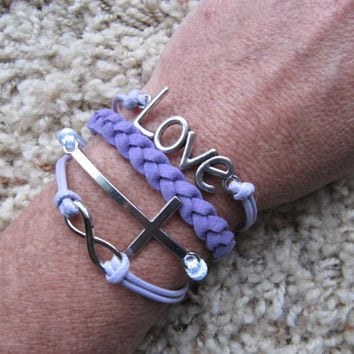 Made in the USA - Purple Love, Sideways Cross, Infinity White Friendship Charm Bracelet
