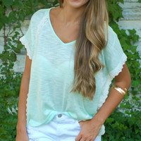 Winged Mint Knit Top