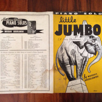 30s Sheet Music Antique Piano Solo Little Jumbo Elephant Vintage Intact Signed Frameworthy Yellow Graphic  Music Paper Print