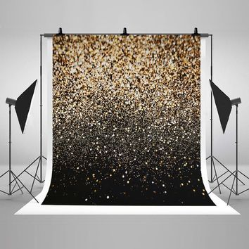 Black Gold Dots Photography Backdrop Glitter Vinyl Fabric Cosplay