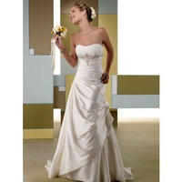 Fashionable strapless empire waist taffeta wedding dress