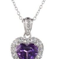 """Platinum-Plated Sterling Silver Amethyst and White Topaz Heart Pendant Necklace, 18"""""""