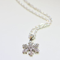 Frozen Snowflake Sterling Silver Necklace, CZ Cubic Zirconia Holiday Christmas Gift, Trending Gift for Her, Gift Guide, Sparkly Snowflake