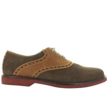Bass Parker   Olive Suede/tan Leather Saddle Shoe