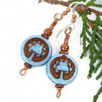 Sky Blue and Copper Tree of Life Earrings, Meaningful Rustic Handmade Artisan Jewelry for Women