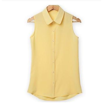 Women Sleeveless Turn-down Chiffon Blouse Summer Shirt Blusas Femeninas Plus Size Solid Vest Tops Camisa De Chifon Feminina