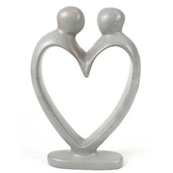 Handcrafted Soapstone Lover's Heart African Art Sculpture White