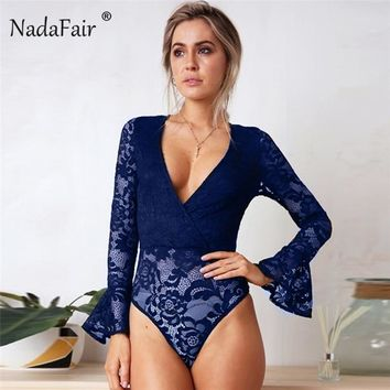 Nadafair sexy deep v neck flare sleeve rompers women solid lace patchwork bodysuits women long sleeve slim autumn tops