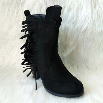 Women's Black Faux Suede Mid-Calf Boot with Fringe Detail