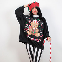 Vintage Tacky Christmas Sweater Black Candy Cane Teddy Bear Kawaii Ugly Christmas Sweater Party Ugly Xmas Sweater Plus Size XL Extra Large