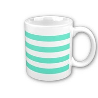 Mint Green Large White Stripes Coffee Mug from Zazzle.com