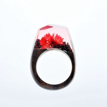 Flowers Inside Resin Blossom Transparent Wood Rings Handmade Vintage Ring for Women Jewelry