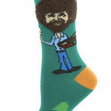 Bob Ross Hair Women's Crew Socks - Feel them! They're fuzzy!