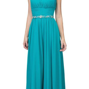 Long Chiffon Evening Gown A Line Ruched V Neckline Rhinestones Jade
