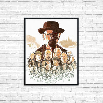 Breaking bad poster, breaking bad art, breaking bad print, walter white poster, movie poster, gifts for men, new mexico