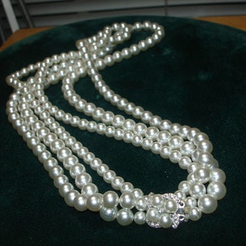 Vintage 3 strand Faux Pearl with Rhinestone on Silver Tone Clasp Necklace