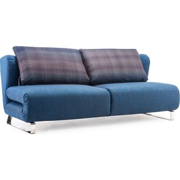 Conic Sofa Sleeper Cowboy Blue Body & Shadow Grid Cushion