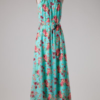 Summer Song Floral Maxi Dress - Aqua