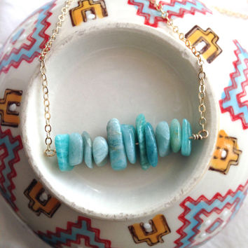 Adventurine Blue Necklace, Beaded Necklace on Gold Filled Chain, Adventurine Necklace, Turquoise Necklace