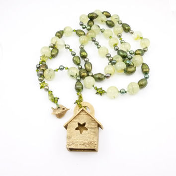 Birdhouse, Pearls and Prehnite Necklace