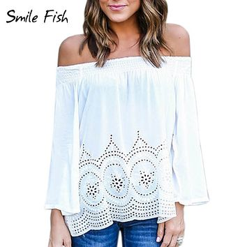 Off shoulder Hollow Out White Lace Blouse Tops Shirts Sexy Women Loose Slash Neck Flare Sleeve Summer Shirts Autumn Blusas X0318