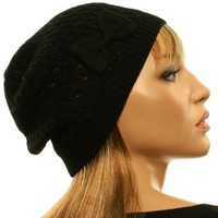 Winter Ladies Light Ribbon Bow Soft Knit Crochet Beanie Skull Ski Hat Cap Black
