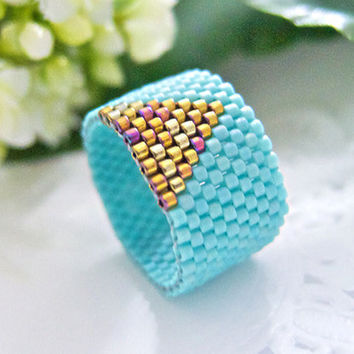 Turquoise Ring Band Beaded Gold Triangle by JeannieRichard on Etsy
