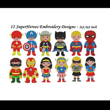 SuperHero Embroidery Design - 12 figures FILL designs each in 3x3 & 4x4inch - INSTANT DOWNLOAD