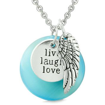 Guardian Angel Wing Live Laugh Love Inspirational Magic Amulet Sky Blue Simulated Cats Eye Necklace
