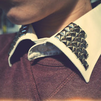 Studded Detachable Shirt Collar