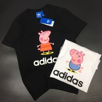 Adidas x Peppa Pig Unisex Casual Fashion Cute Cartoon Letter Print Couple Short Sleeve T-shirt Top Tee