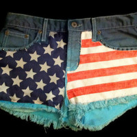 Handmade Dip Dyed Ombre Studded Patchwork American Flag Cutoff Vintage Denim Shorts Size 5
