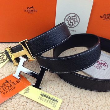 HERMES Reversible double H Gold/Silver Buckle black Belt 38mm /110cm
