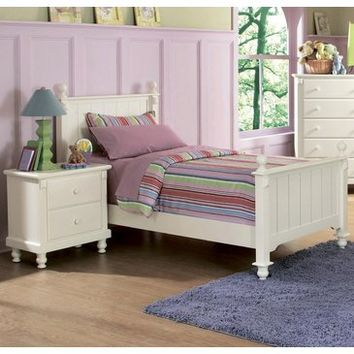 Homelegance Pottery Twin Panel Bed in White