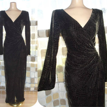 Vintage 90s Tadashi Shoji Silk Velvet Reptile Gown Ruched Hip Sheer Burnout Pattern Formal Dress 8 M/L