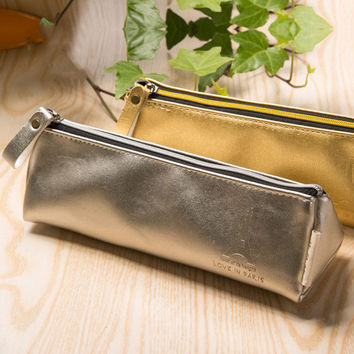 Triangular Vegan Leather Metallic Pencil Case