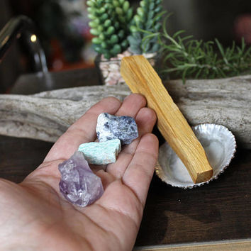Crystal & Palo Santo Kit w/ Amethyst, Sodalite, Amazonite, Opihi Shell from Hawaii, Pagan Altar Supplies, Wiccan Tools, Stones for Wire Wrap