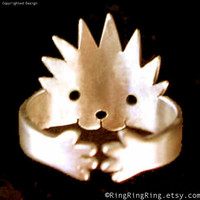 Adjustable cute Hedgehog ring Bronze Jewelry (Matte or Shine) 102512