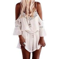 Amazon.com: SUNNOW Womens Bohemian Off Shouder Backless Lace One Piece Short Jumpsuit