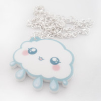 KAWAII RAIN CLOUD Kawaii Rain Cloud Necklace Charm by TomoLtd