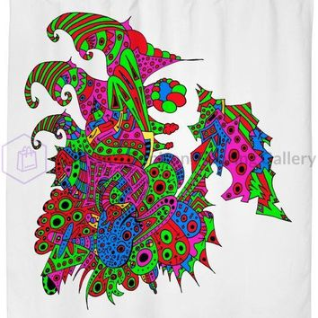 Alien 57 Blue Red Green Pink Blue & Orange Shower Curtain