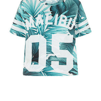 White Palm Leaf Malibu 05 Cropped Baseball T-Shirt