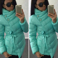 Mint Green Tie-Waist Winter Coat