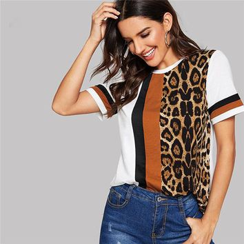 Leopard Panel Top Short Sleeve O-Neck Casual T-Shirt Women Leisure T-shirt Tops