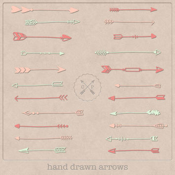 Coral Pink and Mint Hand Drawn Arrows Clipart (set of 22). Great for graphic design invitations or make logos with this tribal arrow clipart