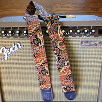 Handmade Guitar Strap (Vegan) -- Brown Paisley