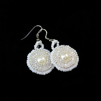 Round Drop Bridal Earrings on Hooks or Clip Ons