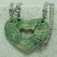 Friendship Heart pendants set of 4 pottery pieces Choose your color Always together quote