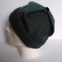 Adult men's / teenage boy's hand knitted square hat. Green